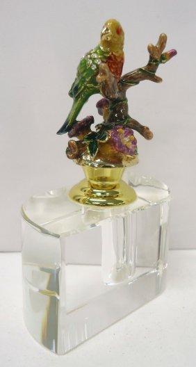 Crystal Perfume W/ Enameled Stopper
