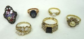 6 Gold Plated Costume Jewelry Rings