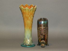 2 Carnival Glass Vases