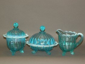 3 Piece Blue Pattern Glass Table Set
