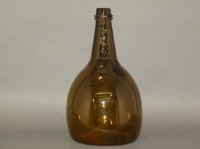 Blown Amber Glass Bottle
