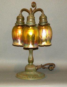 Tiffany Studio Three Light Table Lamp