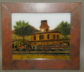 Guttshall Reverse Painting Of Train Station
