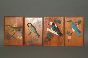 4 Wood Bird Plaque Carvings