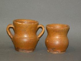 2 Small Schofield Redware Pots