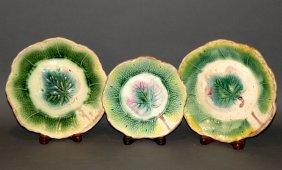 3 Majolica Maple Leaf Plates