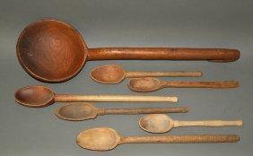 Wooden Ladle & 6 Spoons