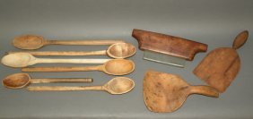 3 Wooden Tools & 6 Spoons