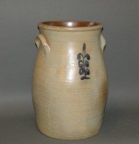 Cobalt Decorated Stoneware Butter Churn