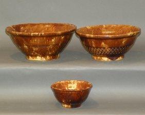3 Rockingham Glaze Mixing Bowls