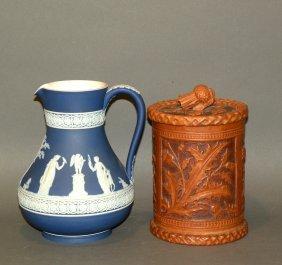 Wedgwood Jasperware Pitcher & Thistle Molded Jar