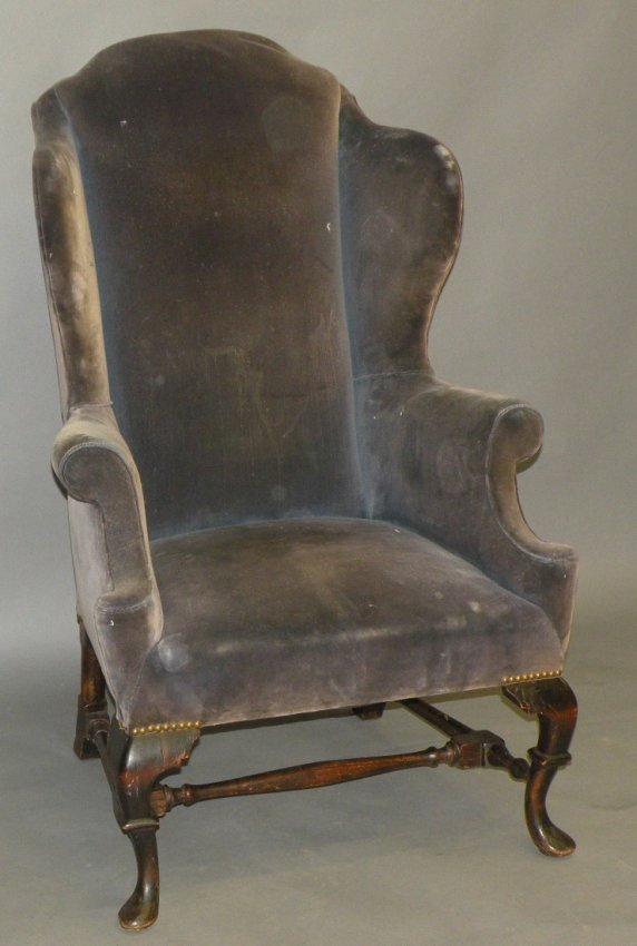 Queen Anne style high back wing chair Lot 780