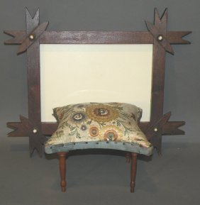 Miniature Stool & Tramp Art Frame