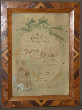 Folk Art Framed Marriage Certificate