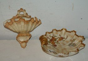 Two Royal Worcester Pieces; A Shell-form Wall Pocket