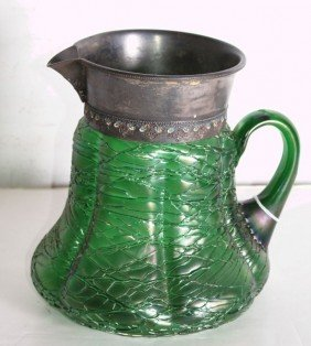 Large Loetz Threaded Art Glass Pitcher, Unmarked. H