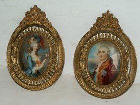 Two Antique French Portrait Miniatures On Ivory, Un