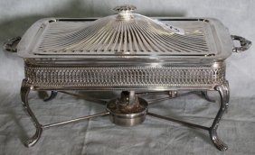 Silver Plate Covered Warming Tray On High Legs With