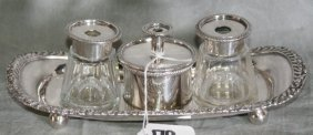 19th C English Silver Plate And Cut Crystal Ink Set