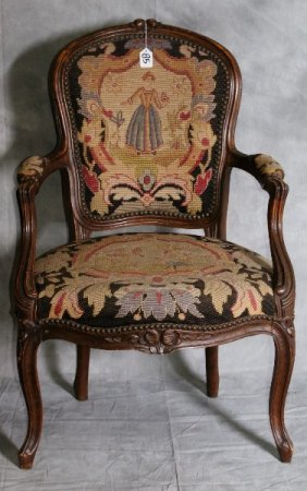 Louis Xv Carved Walnut Needle Point Fauteil. H:35.5