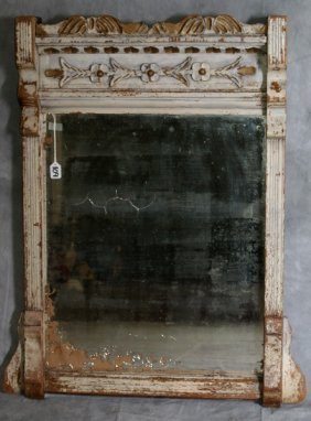 19th C French Gilt And Painted Carved Wood Mirror