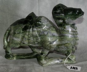 "Large Chinese Green And Grey Jade Camel. H:8"" L:11"