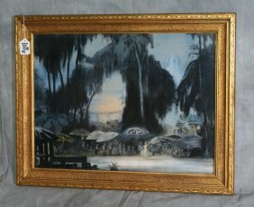 """Framed Guache Signed """"Elizabeth Carson And Dated"""