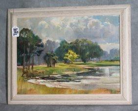 George Cherepov 1909-1987 Oil On Panel Of Landsca