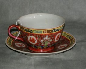 Chinese Cup And Saucer Signed