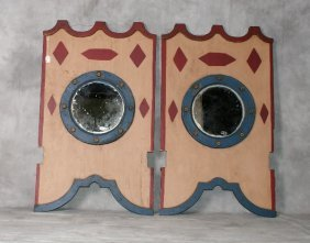 """Pair Antique Carousel Painted Mirrors. H:48"""" W:28. 5"""""""