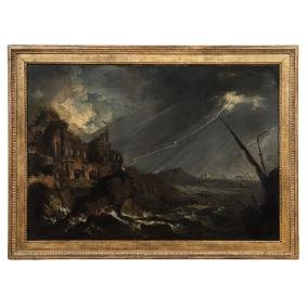 Francesco Fidanza (italy, 1747-1819). Tempest. Oil On