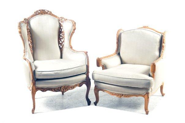 Par de sillones estilo victoriano en madera tallada - Sillones de estilo ...