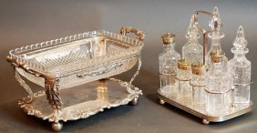 Lot Of 2 English S.p. & Cut Glass Serving Pieces