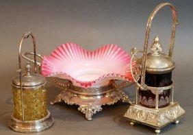 3 Pc Victorian Brides Basket & Pickle Caster Lot