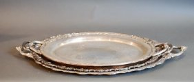 Lot Of 3 S.p. Oval Serving Trays