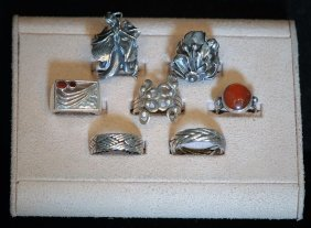 Lot Of 7 Asst S.s. Ladies & Mens Rings