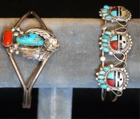 Lot Of 2 Native Amer. Indian S.s. Cuff Bracelets