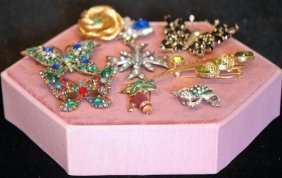 Lot Of 9 Assorted Costume Jewelry Ladies Pins