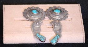 Lot Of 2 Prs Native Amer. Indian S.s. Earrings