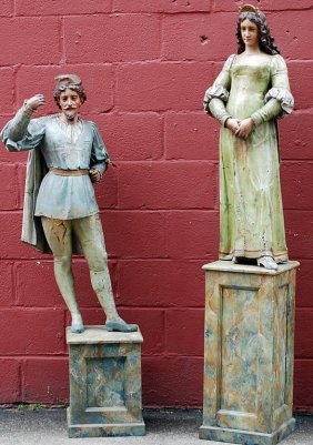 Pair Of Antique French Carved Opera Figures