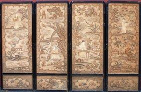 Antique Chinese 4-panel Needlework Screen