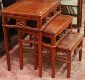 Nest Of 3 Chinese Hardwood Tables