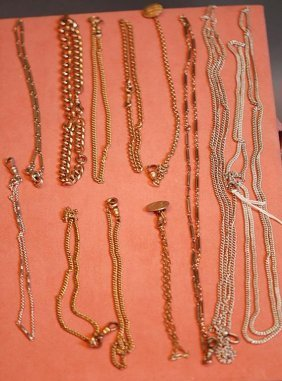 Lot Of 12 Assorted Antique Pocket Watch Chains