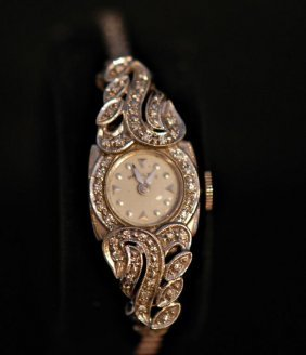 Vintage Hamilton 14k White Gold Ladies Watch