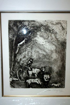 Chagall Etching-Hand Signed-Fables Of La Fontaine
