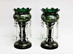 Pair 19th C Victorian Green Glass Mantel Lusters
