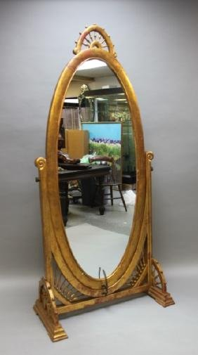 19c Victorian Stick & Ball Gilt Wood Cheval Mirror