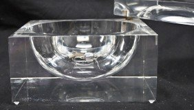 Large Rectangular Lucite Pivot Top Ice Bucket