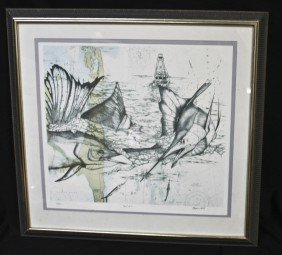 "Marjorie Smith Lithograph, ""reef Cup '97"""