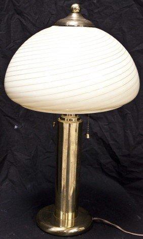 Vetri Brass Lamp W/ Murano Swirl Globe